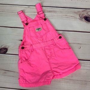 OshKosh B'Gosh • neon pink short overalls